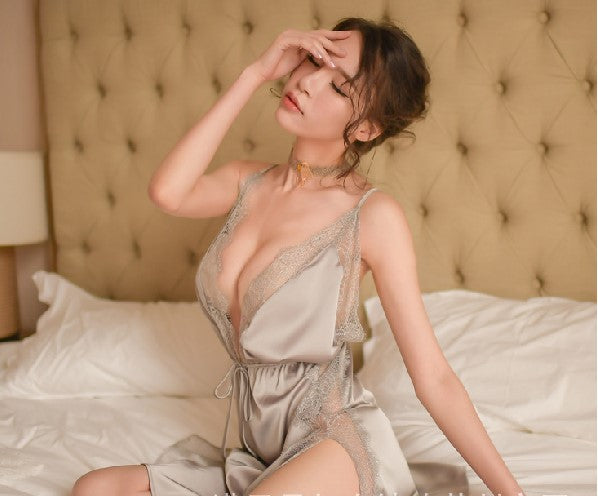 New High-End Temptation Sexy Backless Strap Nightdress Lace Lingerie