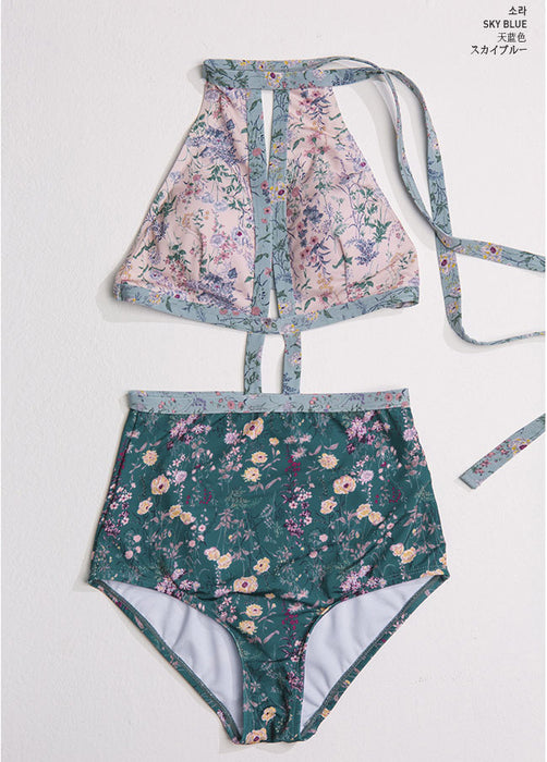Cut Out Dot Flower Sunny Holiday Cute Sweet High Waisted Printed One-Piece Swimsuit
