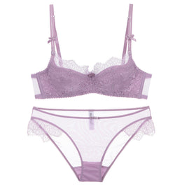 Purple Ice Cream Lace Eyelash Sheer Bra Set