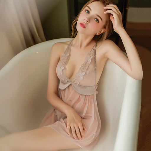 Sofyee Angela Eyelash Butterfly Sheer  Babydoll Dress