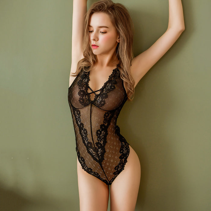 Sexy Sheer Teddies - Flower Trimmed Backless