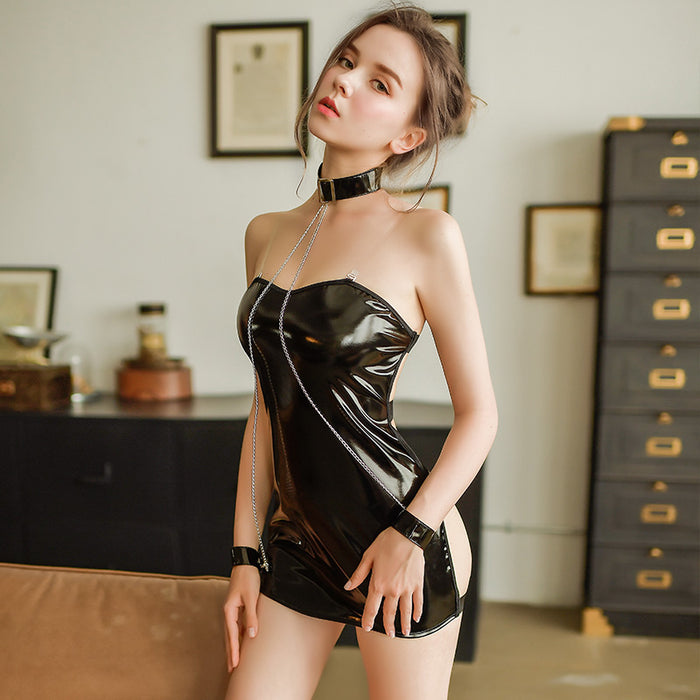 Butterfly Open Back Leather Lace Baby Doll Set