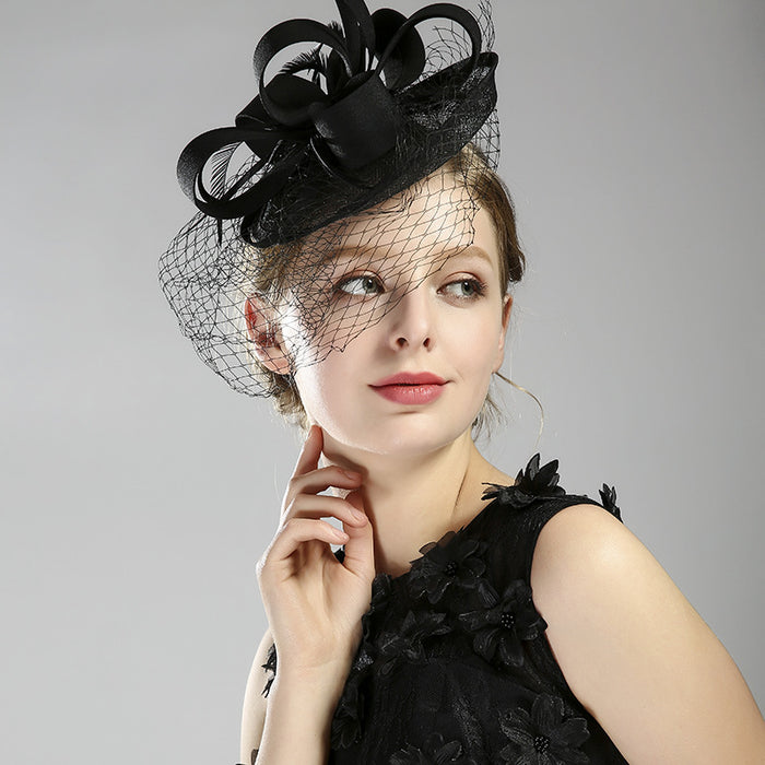Birdcage Veil, Bridal Veil top hat handmade black feather with veil top hat dinner dress accessories bridal headdress
