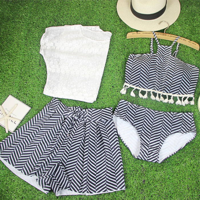Kiss Me  Floral Cute Sweet Stripped  Halter Neck High Waisted 4pcs Swimsuit Set