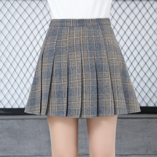 Japanese pleated plaid a-line high waist skirt
