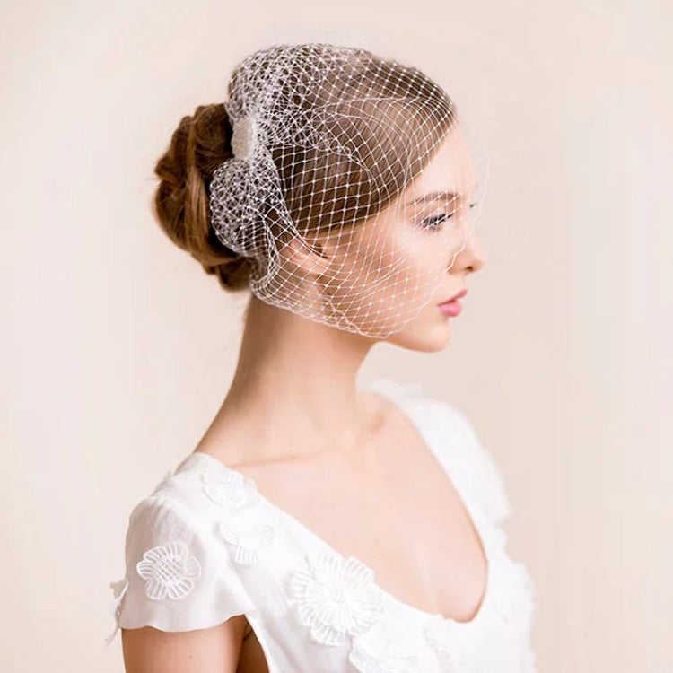 style bride white big eye mesh hair accessories wedding photo stage performance veil headdress Blusher Bird Cage Vei