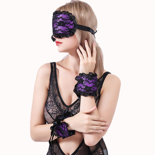 Sexy Temptation Lace Blindfold Handcuffs Set Sex Toys