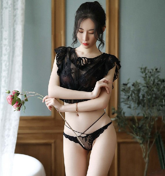Rose Sexy Lingerie Maid Wear Uniform Temptation Lace Split Dress