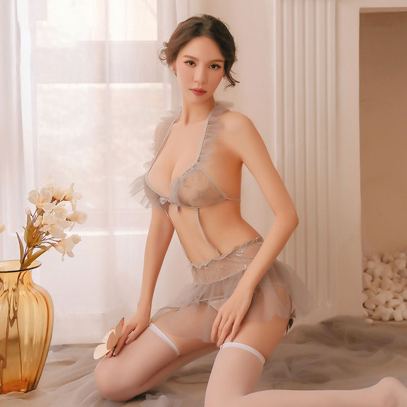 Japanese sexy mesh see-through temptation garter lace three-point one-piece suit