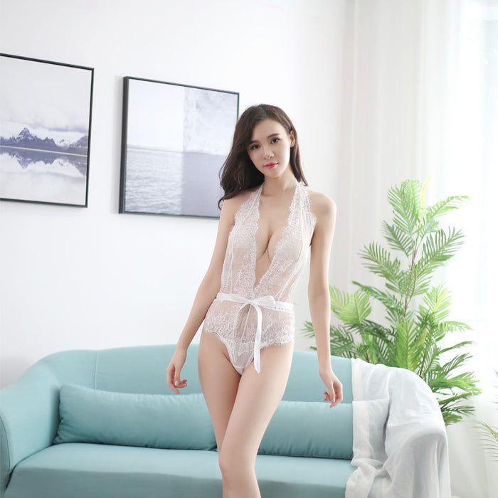 Sultry All Over White See Through Lace Bodysuit