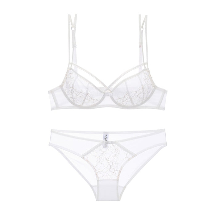 Summer Ice Cream Lace Strappy Underwire Sheer Mesh See Through Bra Set