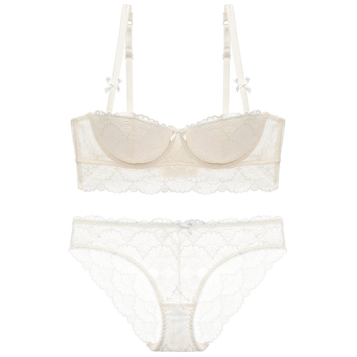 Lovely See Through Mesh Underwire Bra & Panty Set