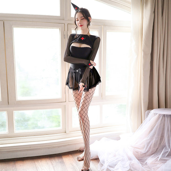 Japanese Cosplay Erotic lingerie uniform seduces hollow out witch nurse