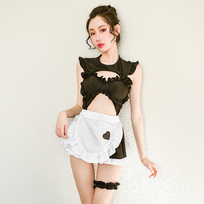 Sexy Japanese Cosplay Uniform temptation backless hollow maid suit
