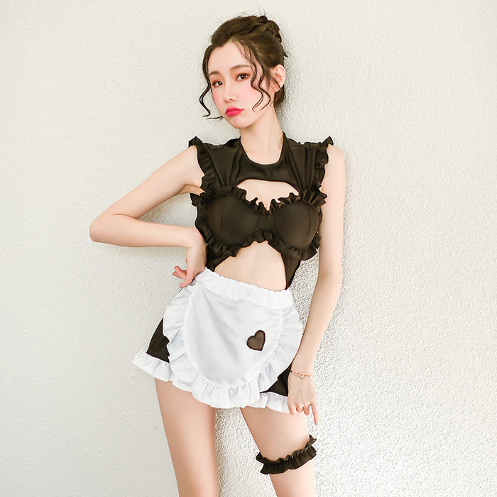 Japanese steel ring cotton pad halter hollow sexy maid suit