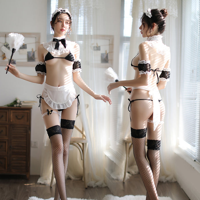 Sexy three-point lace maid costume