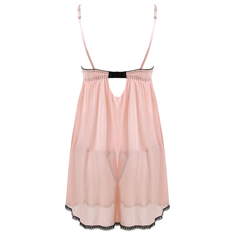 Cute Pinky See Through All Over Baby Doll Lingerie Set