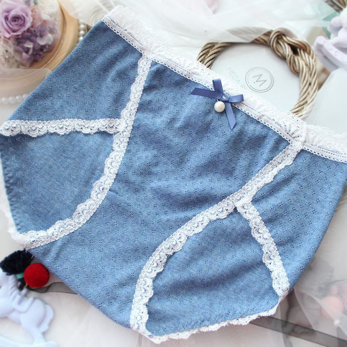 Sea Kawaii Pearl Cute Lace Trimmed Sweetie Heart Panty