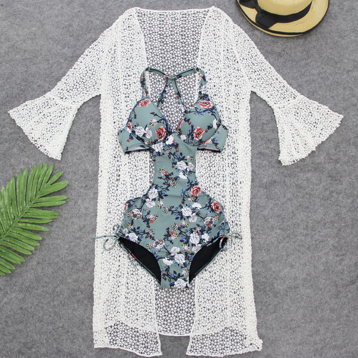 Summer Leaves  Side Cut Out Honey Cute One Piece Cover Up Swimsuit Set
