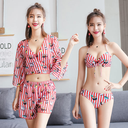 Hot Kiss Me  Floral Cute Sweet Stripped  Halter Neck High Waisted 4pcs Swimsuit Set