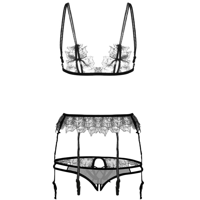 Eyelash Lacey Daisy Extreme See Through Sexy Bra Lingerie Set