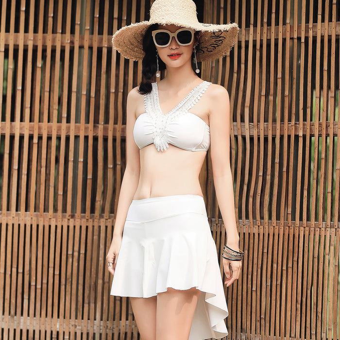 Kiss Me To White Bow Cute Sweet Halter High Waisted Swimsuit Set