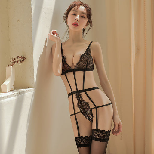 Sexy Nighties Sheer Lace See Thru With Garters