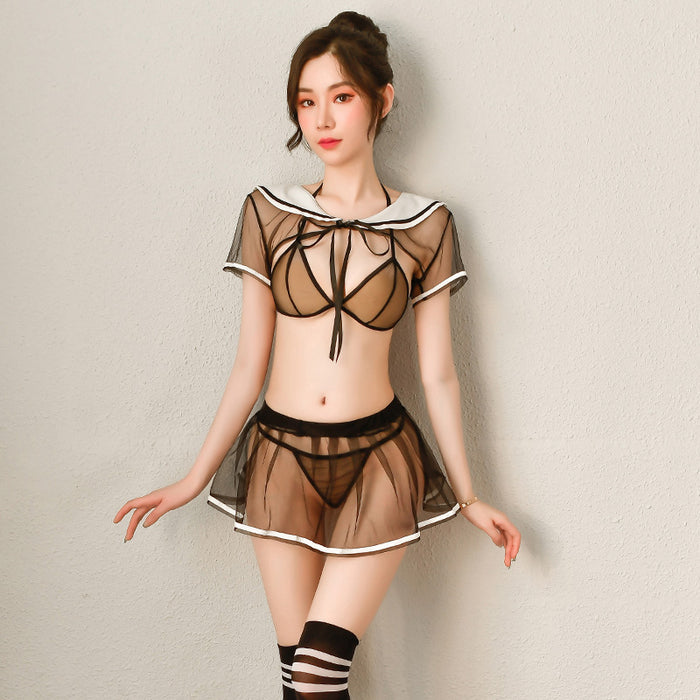 Japanese transparent sexy sailor three-point student suit