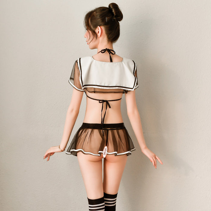 Anime Sheer Bunny Waifu School Girl Sexy Top Skirt Set