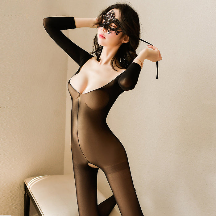 Sofyee  Sexy Open Back Low Neck Open Crotch Free Long Sleeve Transparent Body Stockings