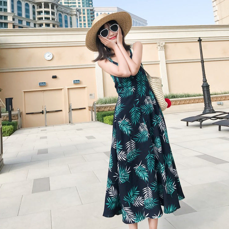Hello Vacation Floral Olive Leaf Slip Dress