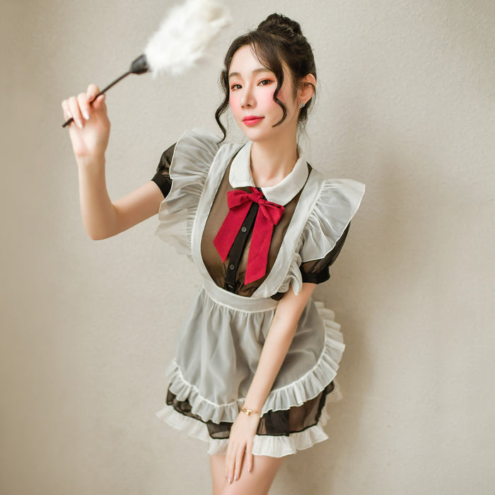 Japanese Sexy maid suit with lace apron and mesh