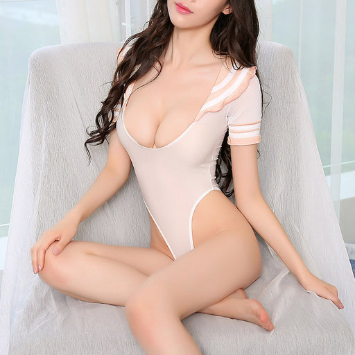 Sexy temptation student uniform tight open file jumpsuit suit