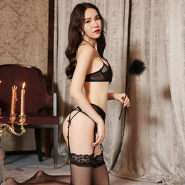 Seductive See Through Black Lingerie