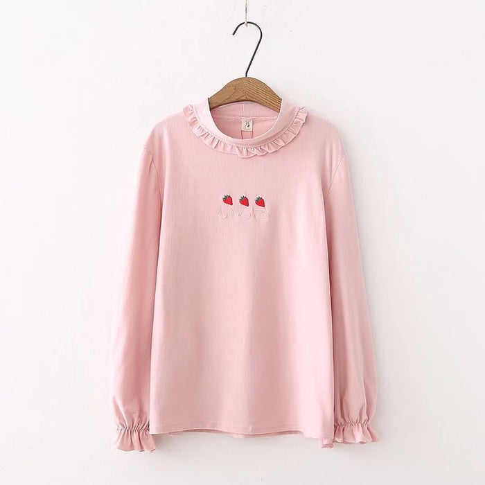 Ruffle Strawberry Fruity Pastel Kawaii Aesthetic Pink T-Shirt