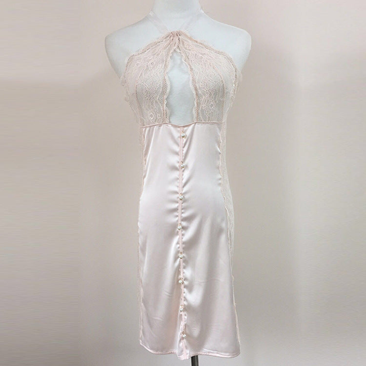 Classic White Silk Halter Lace See Through Negligee Dress