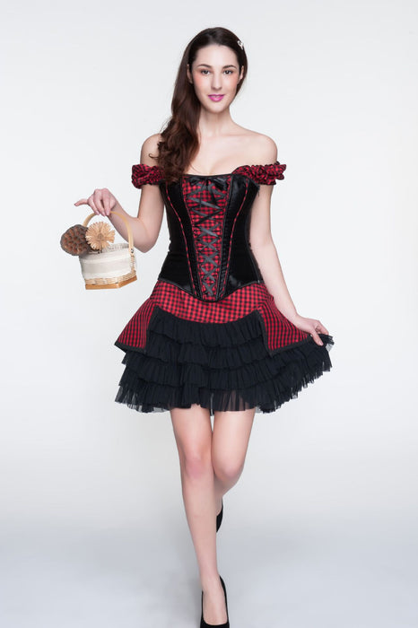 Vocado-Of The Word Collar Plaid Dress Mid-Length Skirt Corset