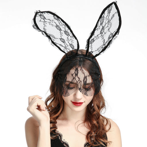 Kawaii Black Lace Headdress Veil Rabbit Ears Headband