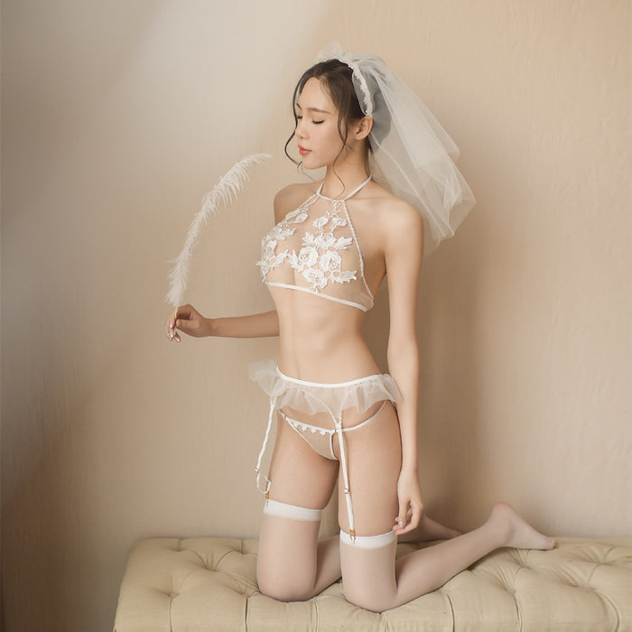 Sheer Flower Lace Sexy Bride Lingerie Stocking Set