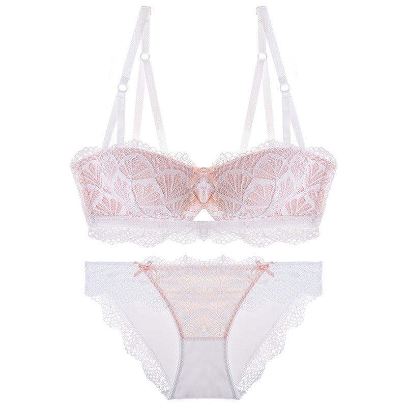 Summer Vibes Pink Lace Eyelash Sheer Bra Set
