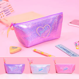 Aesthetic Harajaku Hearty Kawaii Pink Pastel Bling Sparking Make Up Bag