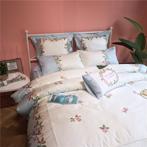 Flower Sky Blue Pastel Princess Bedding Sheet Pillow Case Set