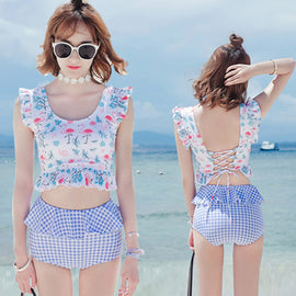 Hello Summer Dot Floral Girly Cute Sweet Printed High Waisted Tankini Swimsuit Set