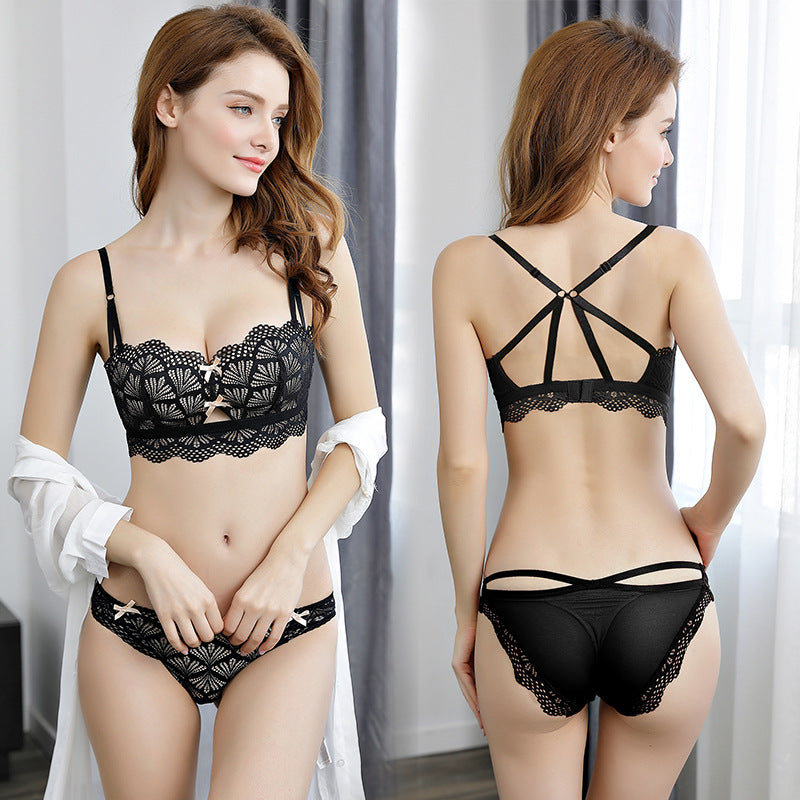 Cute Wirefree Sheer Lingerie Bra & Panty Set
