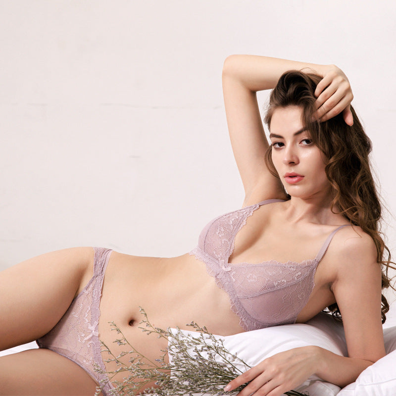 Beautiful Wireless See Through Lace Bra & Panty Set