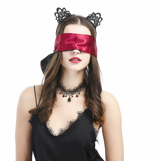 Flirting Feather Stick Satin Eye Mask Crystal Necklace Black Cat Ears Four-Piece Set