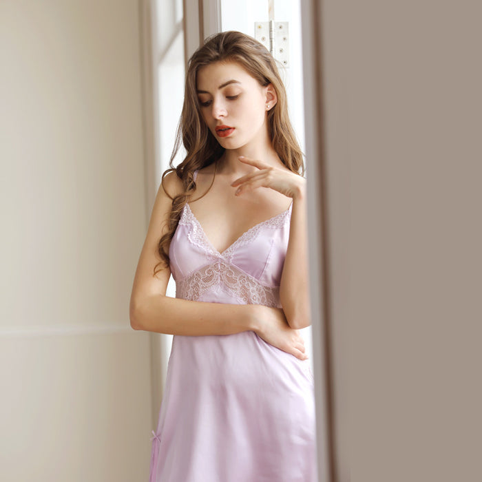 Pinky Cupless Plunge Silky Lace Night Dress