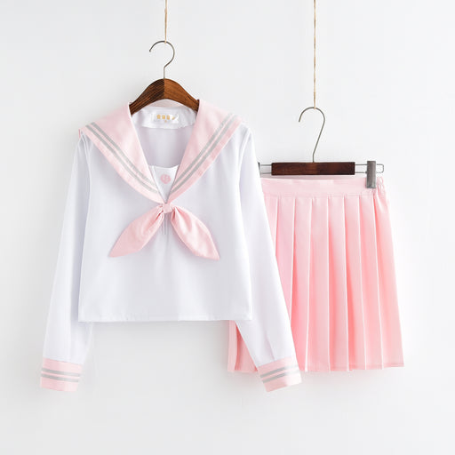 Bow Tie Pink Japanese School Girl Uniform Sailor Moon Shirt Skirt Set