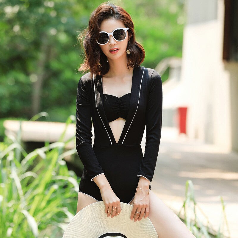 Hot Kiss Me Black Pearl Slim High Waisted 2pcs Swimsuit Set