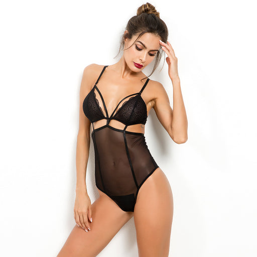 Mesh openwork stitching sexy lingerie jumpsuit